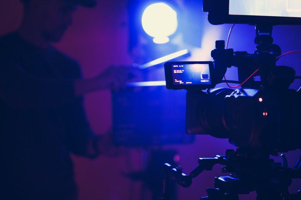 Documentary Film Stage in Blue Illumination