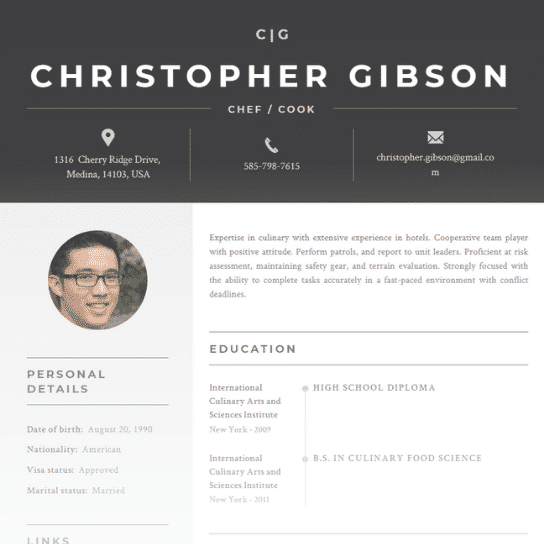 cook resume example