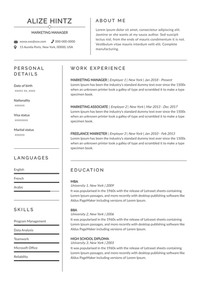 Advertiser resume example Rigue