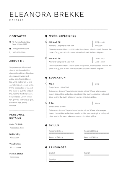 traditional resume model Sidney