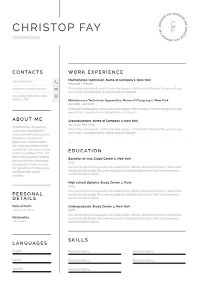 Resume for Technician (EN)-Chicago.pdf